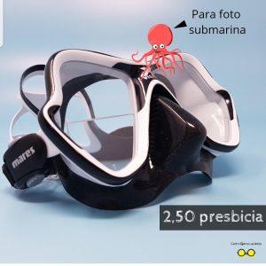 Máscara para fotografía submarina